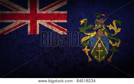 Flag Of Pitcairn Islands With Old Texture. Vector