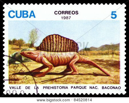 Vintage  Postage Stamp.   Dinosaur  Dimetrodon.