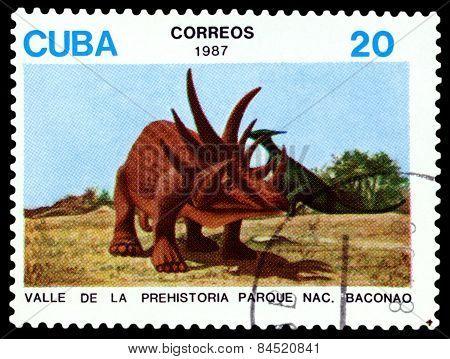 Vintage  Postage Stamp.   Dinosaur.1.