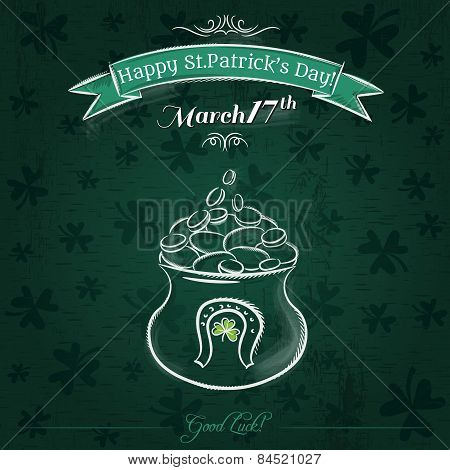Green Card For St. Patrick's Day And  Pot With Golden Coins
