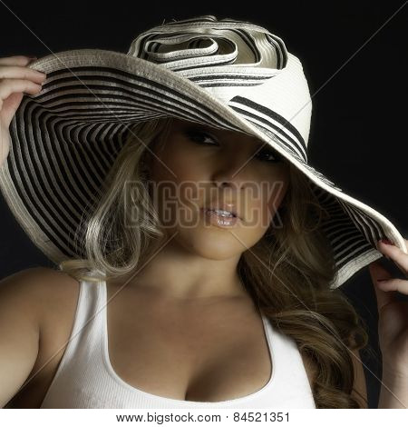 Blonde Latina Girl Large White Hat Tank Top