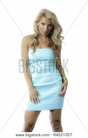 Blonde Latina Girl Blue Green Dress