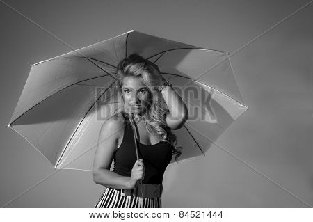 Latina With Umbrella Black And White