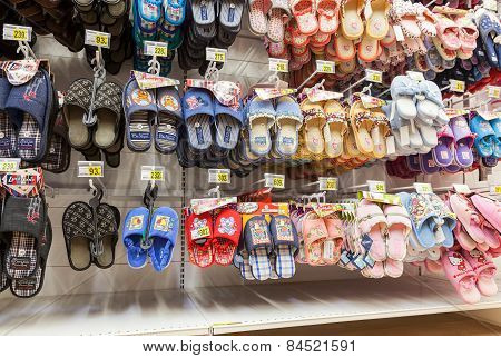 Different Slippers Ready To Sale At Showcase In New Hypermarket Auchan