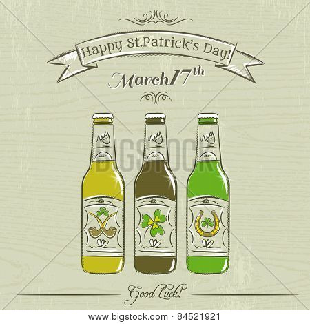 Card For St. Patrick's Day With Three Bottles Of Beer