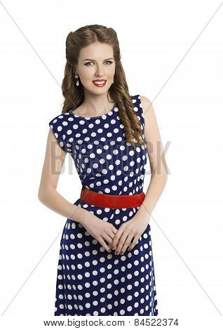 Woman In Polka Dot Dress, Retro Girl Pin Up Hair Style, Beauty Make Up And Hairstyle, White Isolated