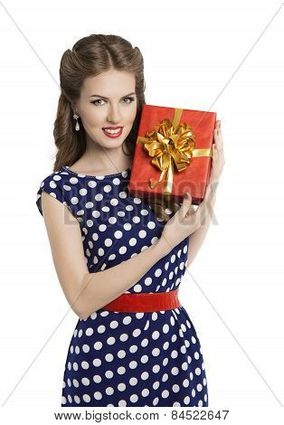 Woman Giving Gift Box, Girl In Retro Polka Dot Dress Advertising Red Present, Pin Up Beauty
