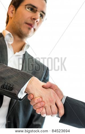 Businessman Shaking Hands With Business Partner