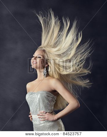 Woman Hairstyle Portrait, Flying Long Straight Hair, Girl Fashion Beauty, Windy Hairs