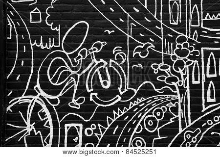 Street art black and white city