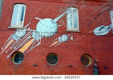 Street art Montreal space ship