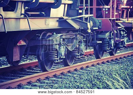 Wheels Of A Train On The Tracks, Vintage Style