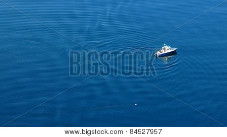 Fishing Boat On Lake Thunersee