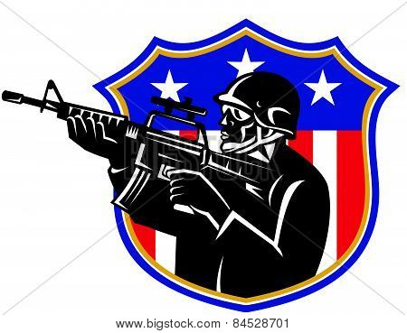 Soldier-m4 Carbine-rifle-shield-side