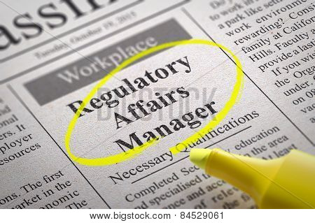 Regulatory Affairs Manager Jobs in Newspaper.