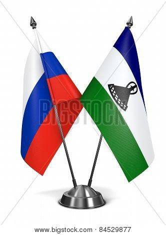 Russia and Lesotho - Miniature Flags.
