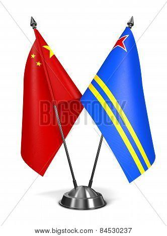 China and Aruba - Miniature Flags.