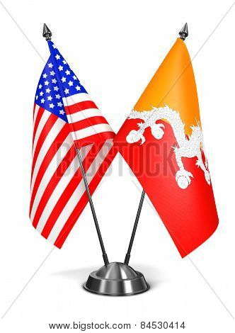 USA and Bhutan - Miniature Flags.