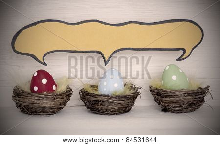 Spotlight To Three Colorful Easter Eggs With Comic Speech Balloon Copy Space