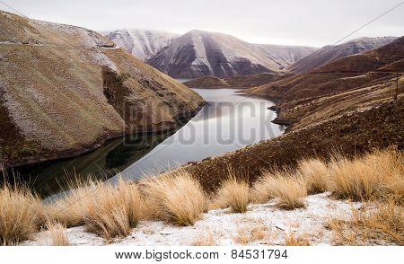 Reservoir Snake River Canyon Cold Frozen Snow Winter Travel Landscape