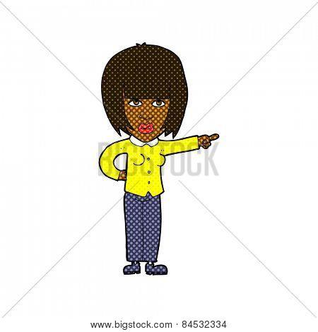 retro comic book style cartoon pointing annoyed woman