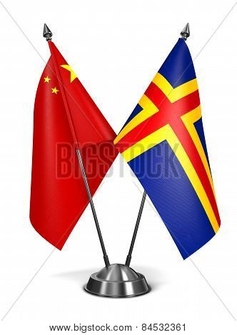 China and Aland - Miniature Flags.