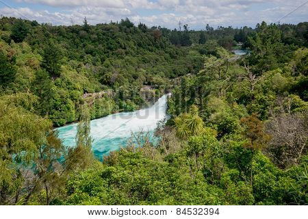 A scenic view of Huka falls on Wiakato river from the distance