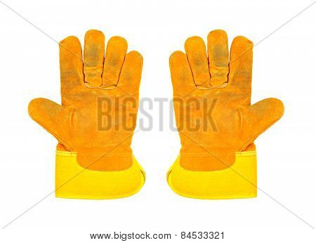 Two Dirty Yellow Work Gloves, Isolated On White Background