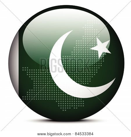 Map With Dot Pattern On Flag Button Of Islamic Republic  Pakistan