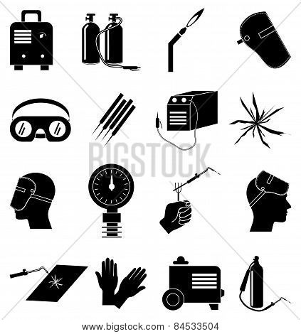 welding work industrial icons set