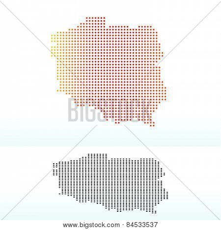 Map Of Republic  Poland With Dot Pattern