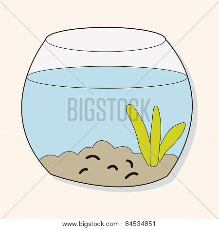 Pet Goldfish Bowl Theme Element Vector,eps10