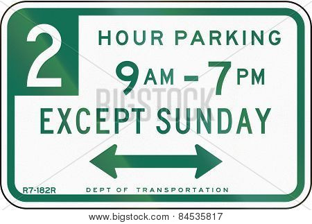 Two Hour Parking Except Sunday