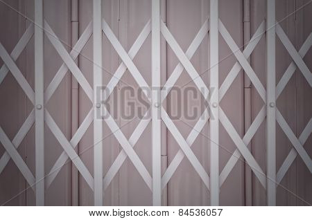 Pink Metal Grille Sliding Door With Aluminium Handle