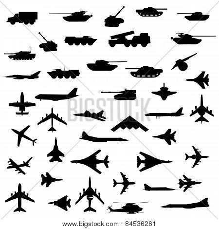 Vector Set Of Aircraft, Armored  And Guns.