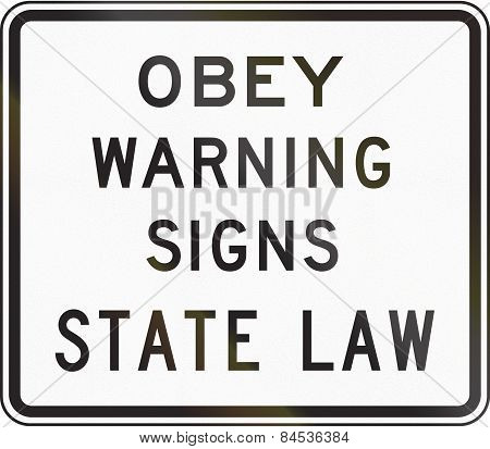 Obey Warning Signs State Law