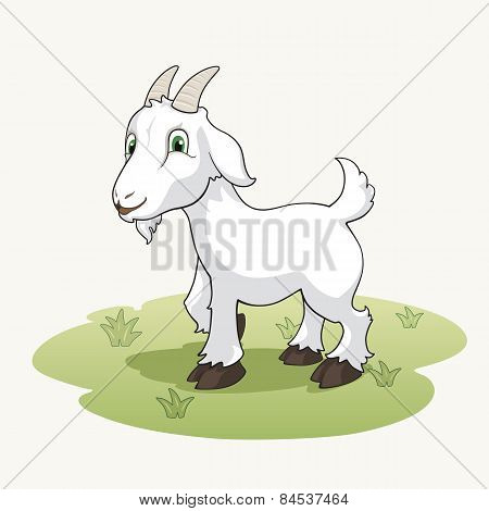 Cute Cartoon Goat On The Grass