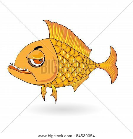 angry cartoon fish isolated on the white.