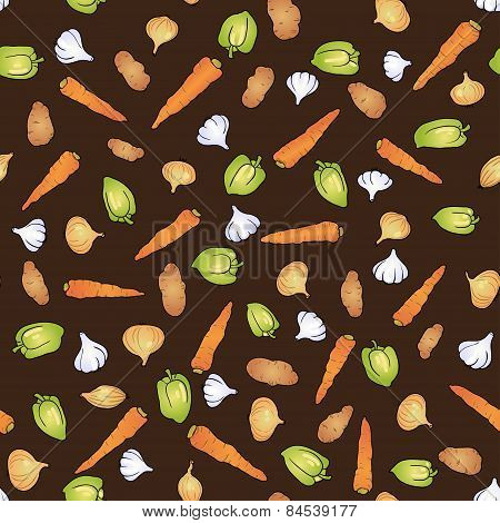 garlic, onion, carrot, bell pepper and potatoes seamless food pattern
