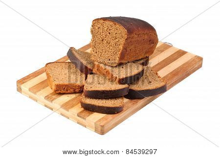 Bread Sliced On Cutting Board Isolated On White
