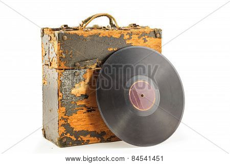 Old Phonograph Disk And Box