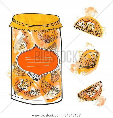 Hand drawn can with homemade orange jam and isolated slices of lemons and oranges. Set of vector ill