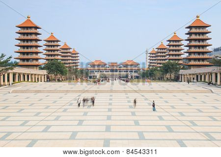 Kaohsiung, Taiwan - December 15, 2014: Sunset At Fo Guang Shan Buddist Temple Of Kaohsiung, Taiwan W