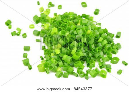 Chopped Of Fresh Scallions Isolated On A White Background