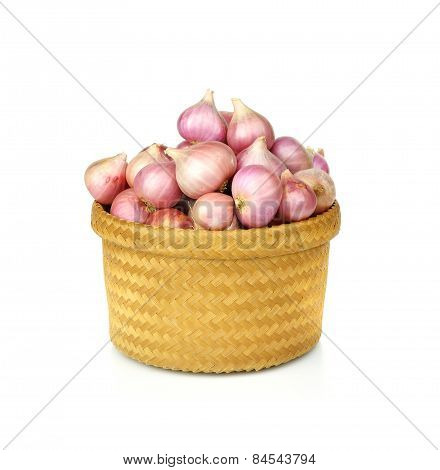 Shallots Or Onion In Basket Isolated On White Background