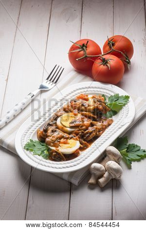 boiled eggs with mushrooms