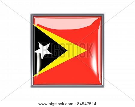 Square Icon With Flag Of East Timor