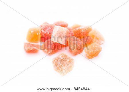 Dried Fruit Papaya On A White Background