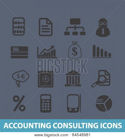 accounting, consulting services flat isolated concept design icons, symbols, illustrations on background for web and applications, vector