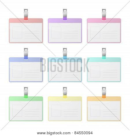 Set Of Colorful Transparency Identification Cards With Place For Photo And Text